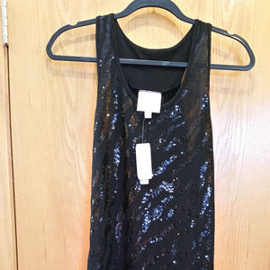 NWT Romeo & Juliet Couture Black Sequin SL Dress S